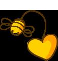 Dibujo de una abeja con un corazón
